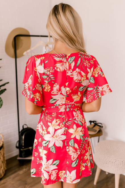 BB Dakota Trending Tropic Dress - Hot Pink - FINAL SALE