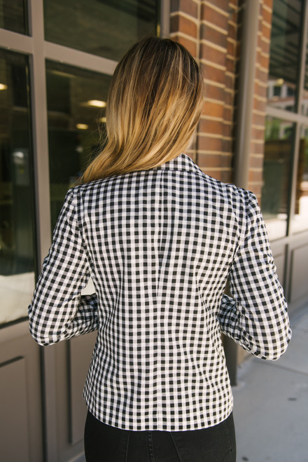 BB Dakota Gingham Style Blazer - Black - FINAL SALE