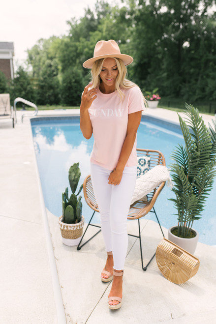 BB Dakota Day Dreaming Sunday Tee - Pale Pink -  FINAL SALE