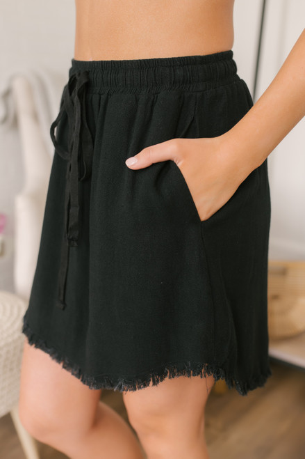 Drawstring Frayed Linen Skirt - Black