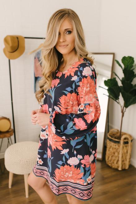 Montego Bay Floral Shift Dress - Navy Multi