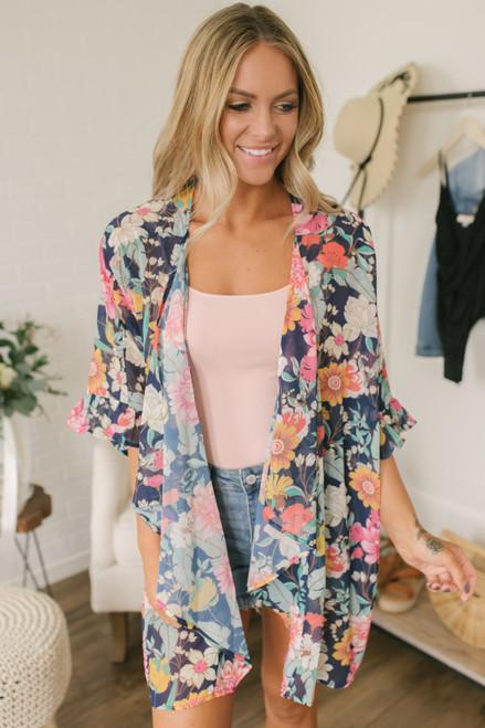 5649f30b41b5 Floral Oasis Ruffle Sleeve Kimono - Navy Multi
