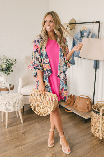 58586e0c4de0 ... Floral Oasis Ruffle Sleeve Kimono - Navy Multi - FINAL SALE ...