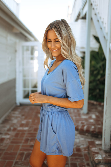 Short Sleeve Drawstring Romper - Faded Navy