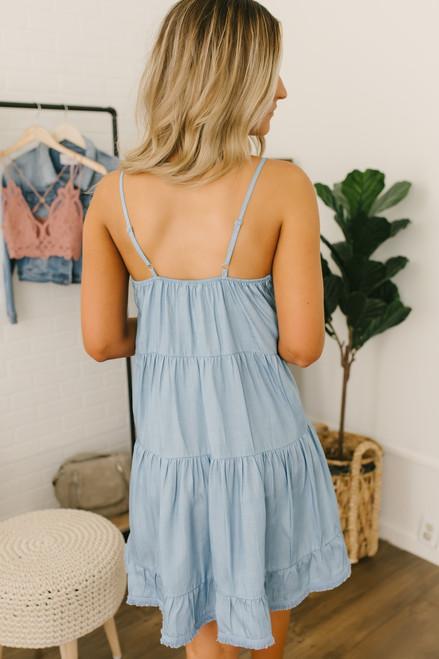 Tiered Ruffle Frayed Chambray Dress - Light Wash