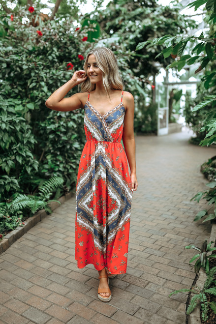 Sahara Sunset Surplice Boho Printed Maxi - Red Multi  - FINAL SALE