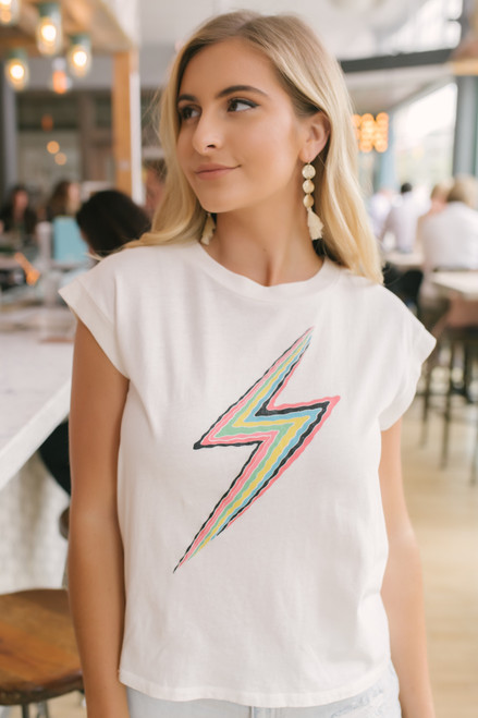 Daydreamer Lightning Bolt Tee - White