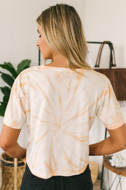 Daydreamer Rolling Stones Tie Dye Rebel Crop Tee - Apricot - FINAL SALE