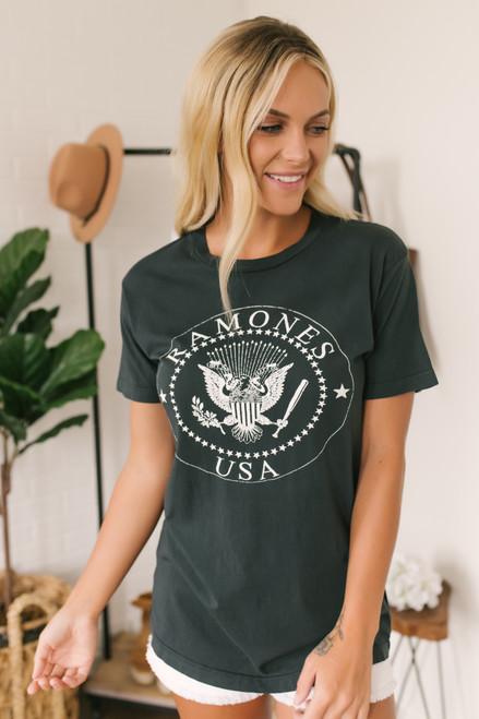 Daydreamer Ramones USA Crest Weekend Tee - Black - FINAL SALE
