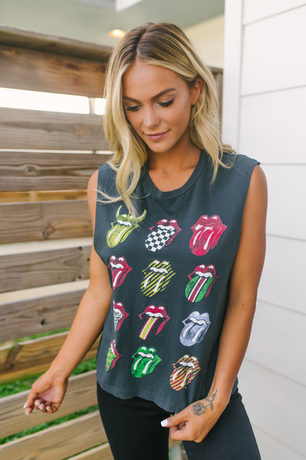 Daydreamer Rolling Stones 12 Tongues Muscle Tank - Ash