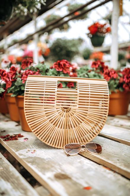 Tea Garden Bamboo Clutch Handbag - Natural