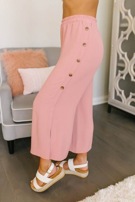 Everly Button Detail Side Split Pants - Coral Mauve - FINAL SALE