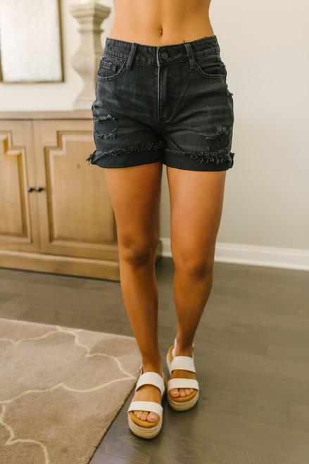 Seacliff Distressed Cuffed Shorts - Black