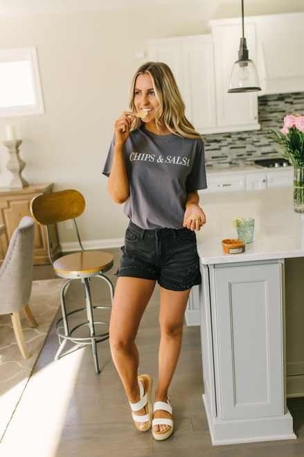 Seacliff Distressed Cuffed Shorts - Black- FINAL SALE