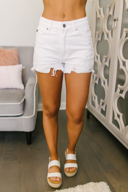 Front Porch Distressed Shorts - White