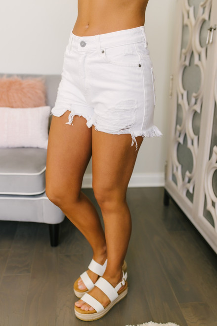Front Porch Distressed Shorts - White - FINAL SALE