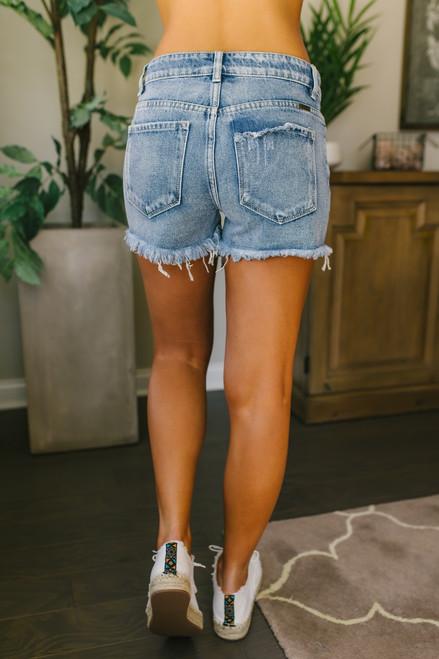 Southern Soul Distressed Boyfriend Shorts - Light Wash