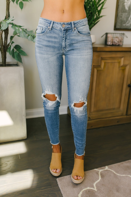 California Breeze Distressed Skinny Jeans - Medium Wash -  FINAL SALE