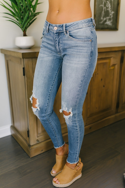 California Breeze Distressed Skinny Jeans - Medium Wash - FINAL SALE
