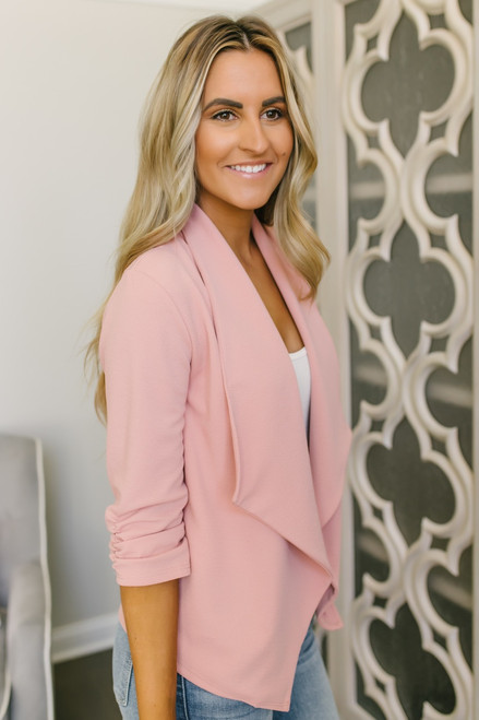 Only for You Ruched Sleeve Blazer - Blush - FINAL SALE
