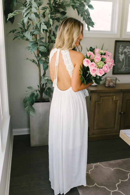 Greek Isle Crochet Detail Open Back Maxi - White - FINAL SALE