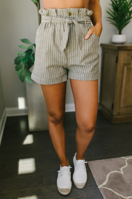 Cypress Hill Striped Paperbag Shorts - Olive/Taupe - FINAL SALE