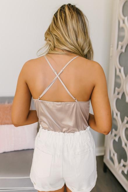 V-Neck Lace Detail Satin Bodysuit - Nude