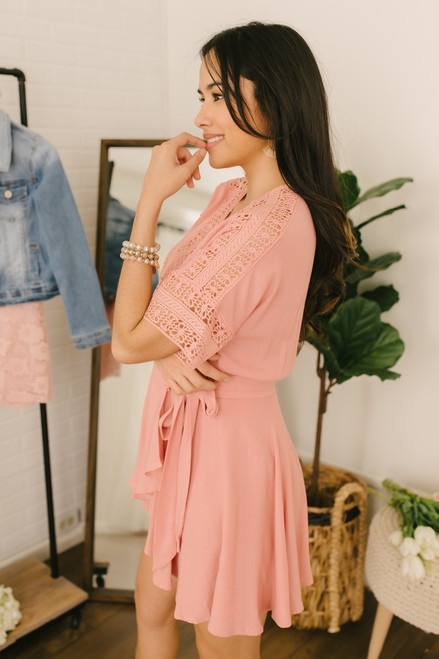 Short Sleeve Crochet Detail Wrap Romper - Blush