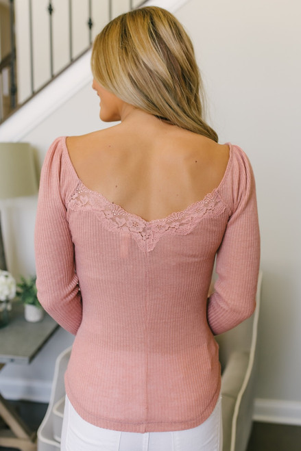 Lace Detail Ribbed Knit Henley Top - Coral Rose  - FINAL SALE