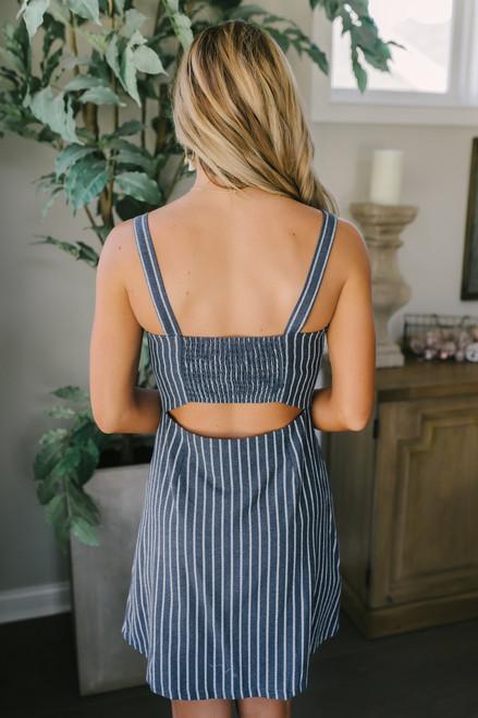 Open Back Button Down Linen Dress - Navy/White