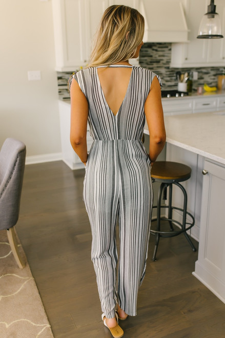 V-Neck Ruched Strap Striped Jumpsuit - Black/White - FINAL SALE