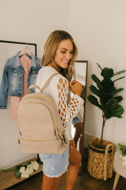 Bay Area Tripe Vegan Leather Backpack - Sand