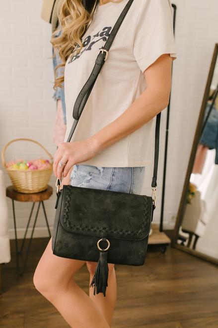 Whipstitch Tassel Detail Crossbody Bag - Black