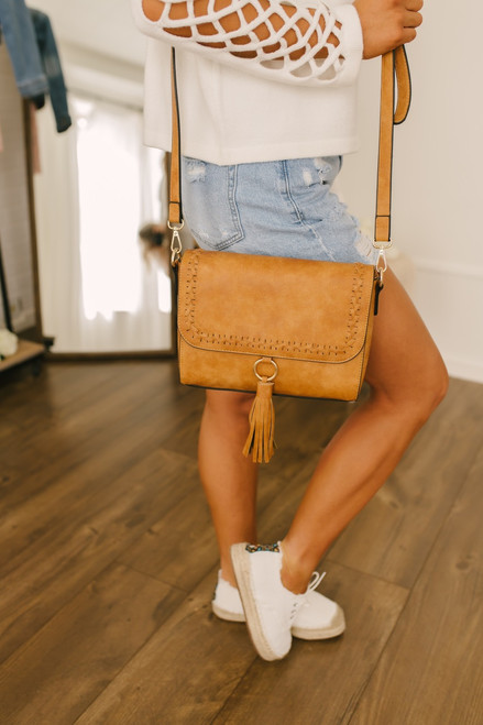 Whipstitch Tassel Detail Crossbody Bag - Camel