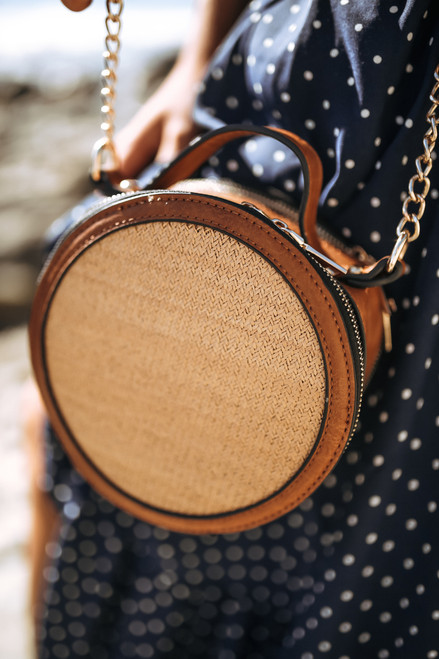 Straw Accented Round Crossbody - Brown Multi  - FINAL SALE