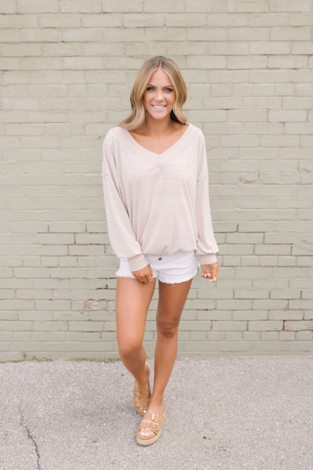 V-Neck Gradient Striped Ribbed Sweater - Blush Taupe