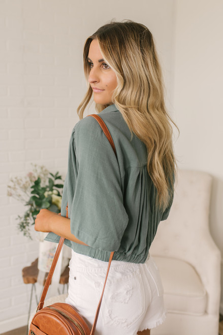 Button Down Knot Crop Top - Dusty Sage