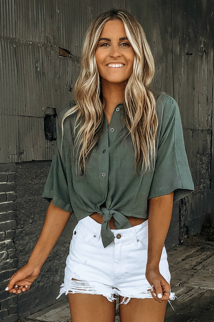 Button Down Knot Crop Top - Dusty Sage  - FINAL SALE