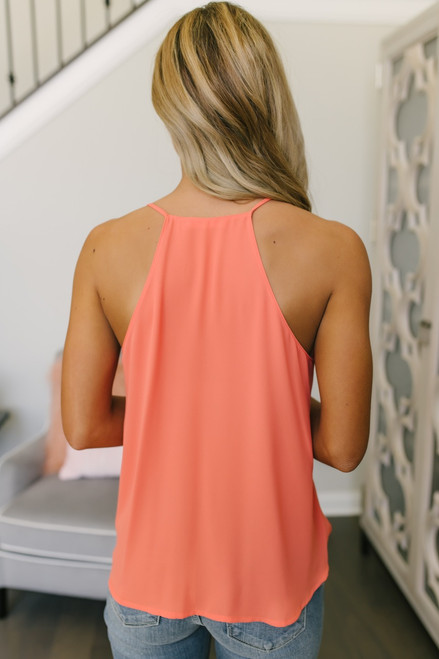 Caribbean Cape Surplice Tank - Neon Orange