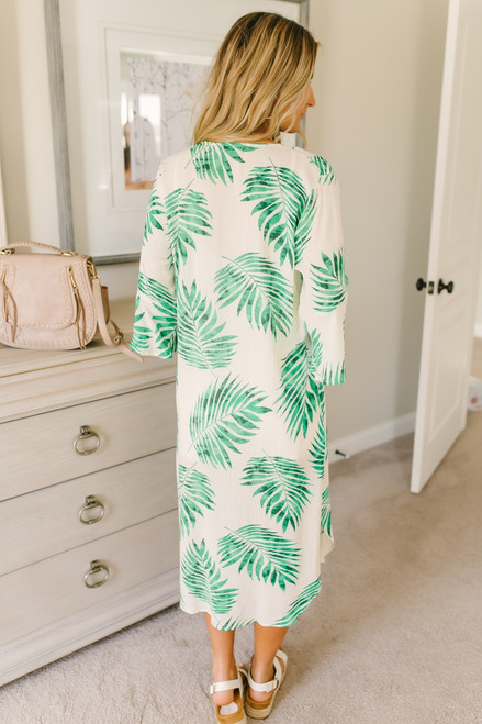 Under the Palms Duster Kimono - White/Green