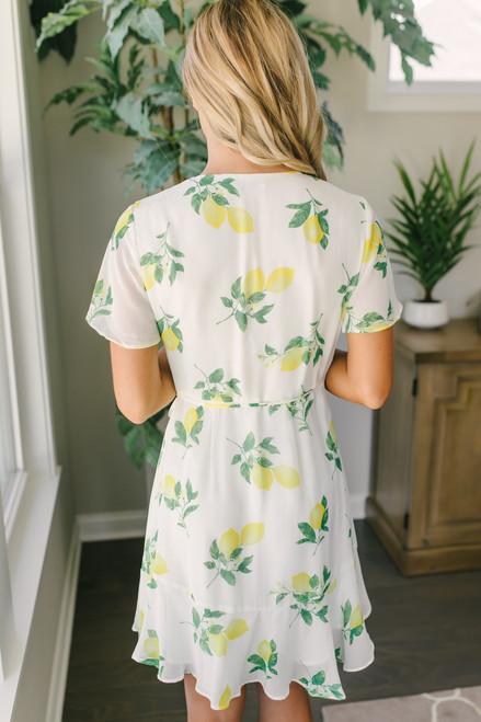 Short Sleeve Lemon Wrap Dress - Off White Multi
