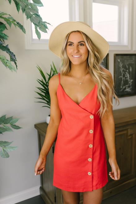 Mon Cherry Button Down Linen Dress - Red