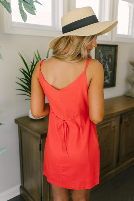 Mon Cherry Button Down Linen Dress - Red - FINAL SALE