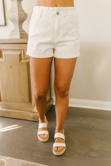 High Waist Denim Mom Shorts - White