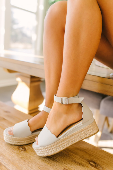Scalloped Espadrille Platform Sandals - Light Grey