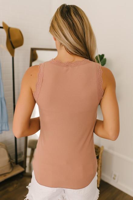 Scalloped Lace Ribbed Knit Tank - Blush