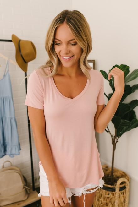 Nadine V-Neck Tee - Pink
