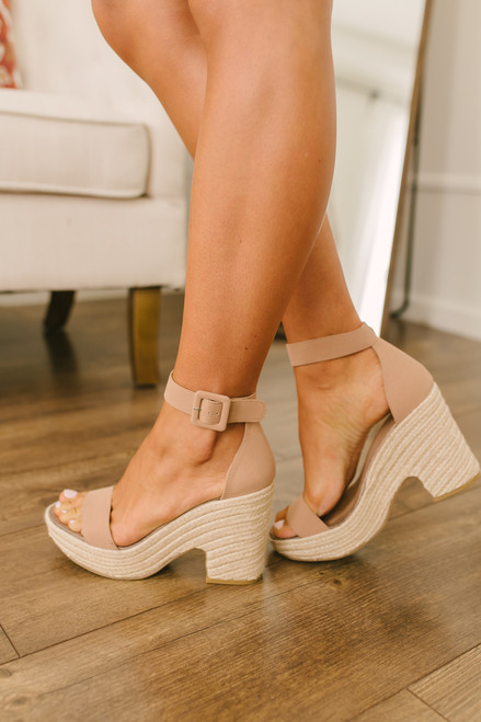 Chinese Laundry Queen Espadrille Wedges  - Camel