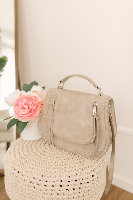 Double Zip Whipstitch Crossbody Bag - Dove Grey - FINAL SALE
