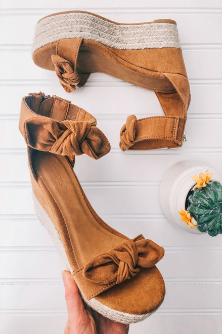 Faux Suede Bow Detail Wedges - Tan